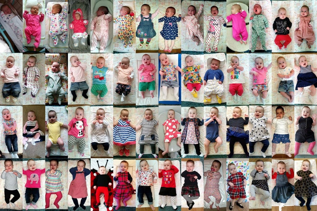 Collage of Littlest's first year