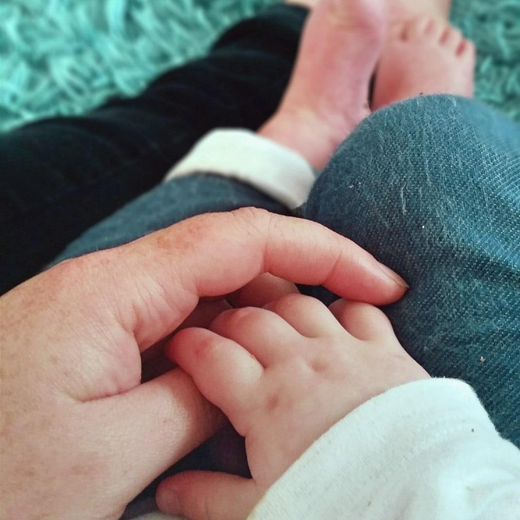 Littlest, holding mummy's hand