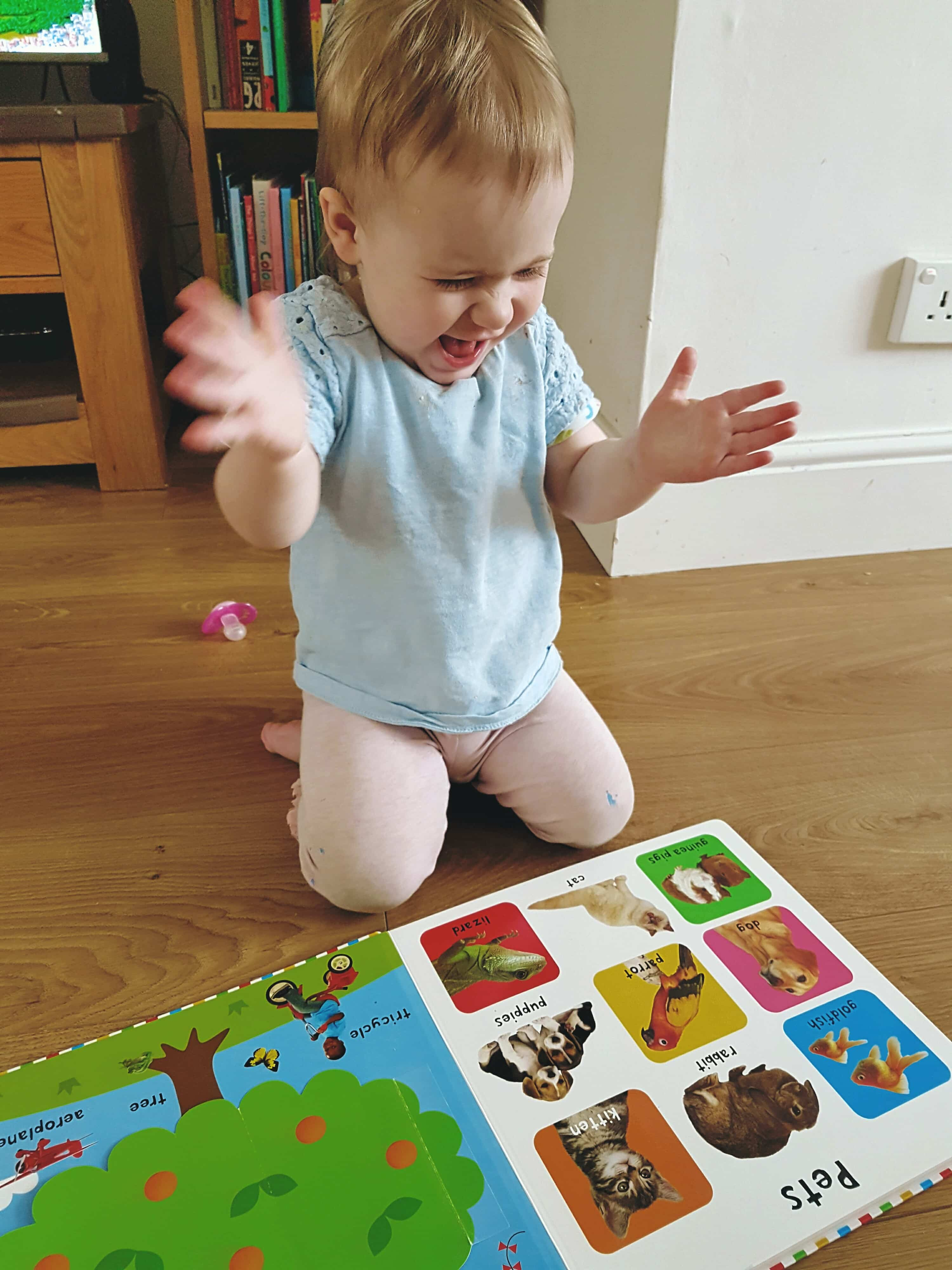 Little girl clapping while reading a lift-the-flap book