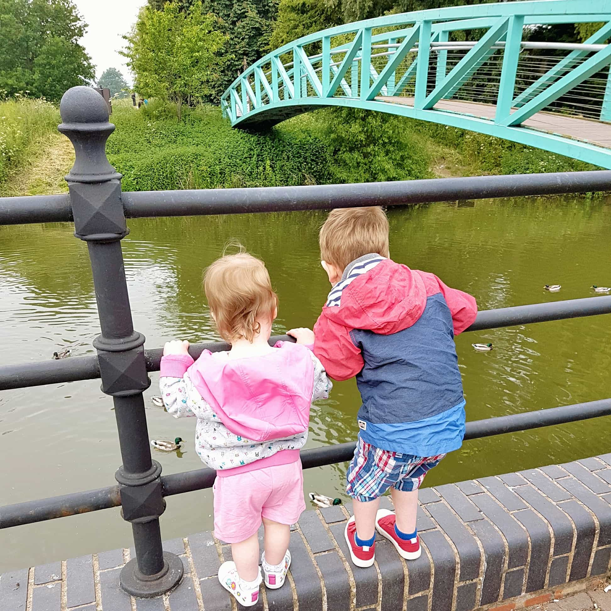Small girl and boy leaning over barrier to see ducks on river