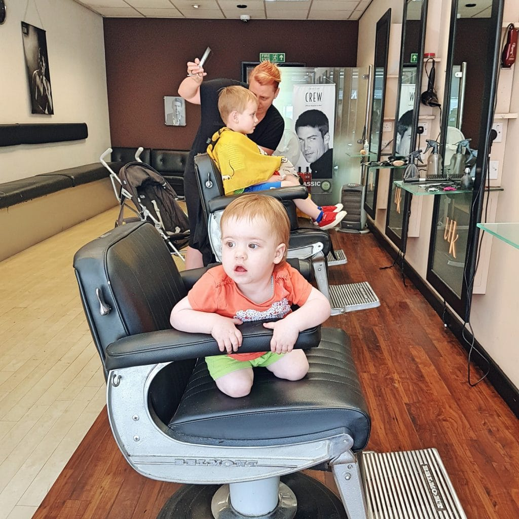 Boy getting his hair cut
