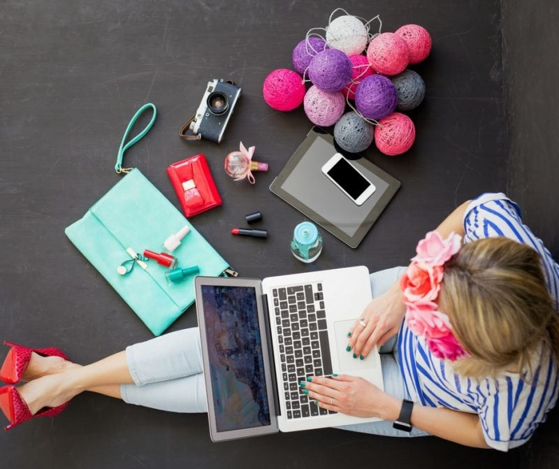 Blogger working stock photo