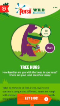 Persil Wild Explorer App Tree Hugs activity screen