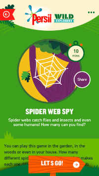 Persil Wild Explorers Spider Web Spy Activity screen