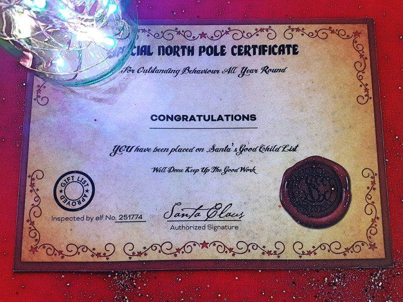 Letter from Santa certificate