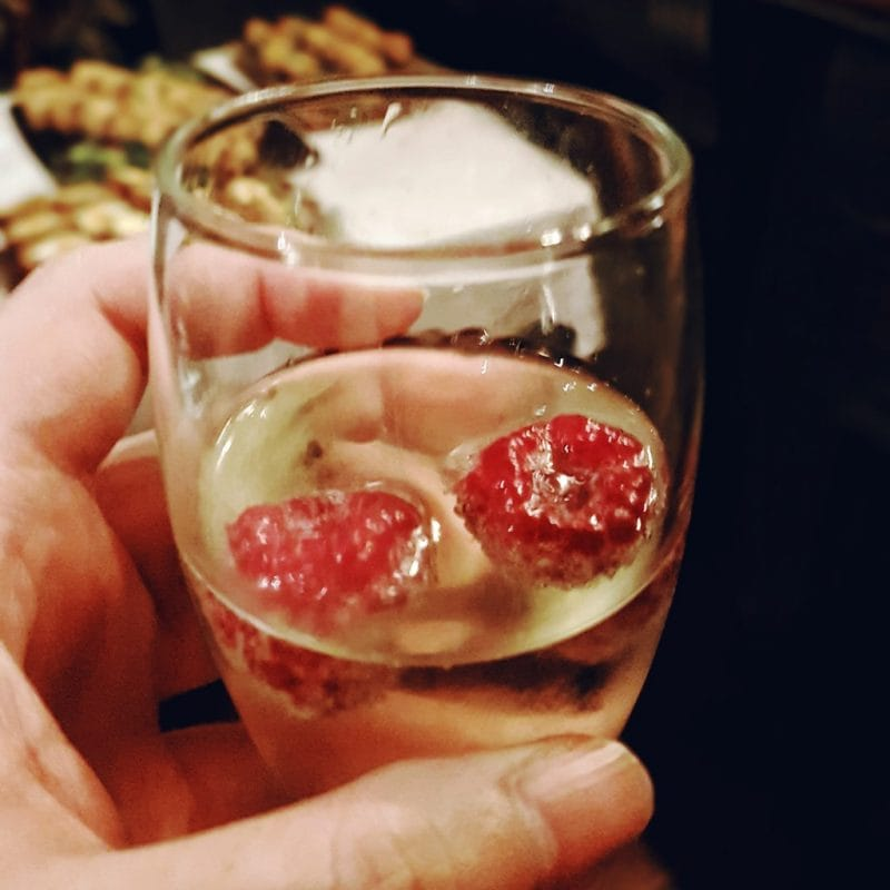 Prosecco and Raspberries at HomeSense Christmas Event