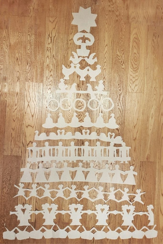 Tree made from Plenty kitchen roll cut-outs of The Twelve Days of Christmas