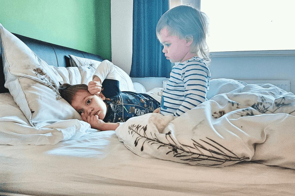 Biggest and Littlest enjoying our new Emma mattress