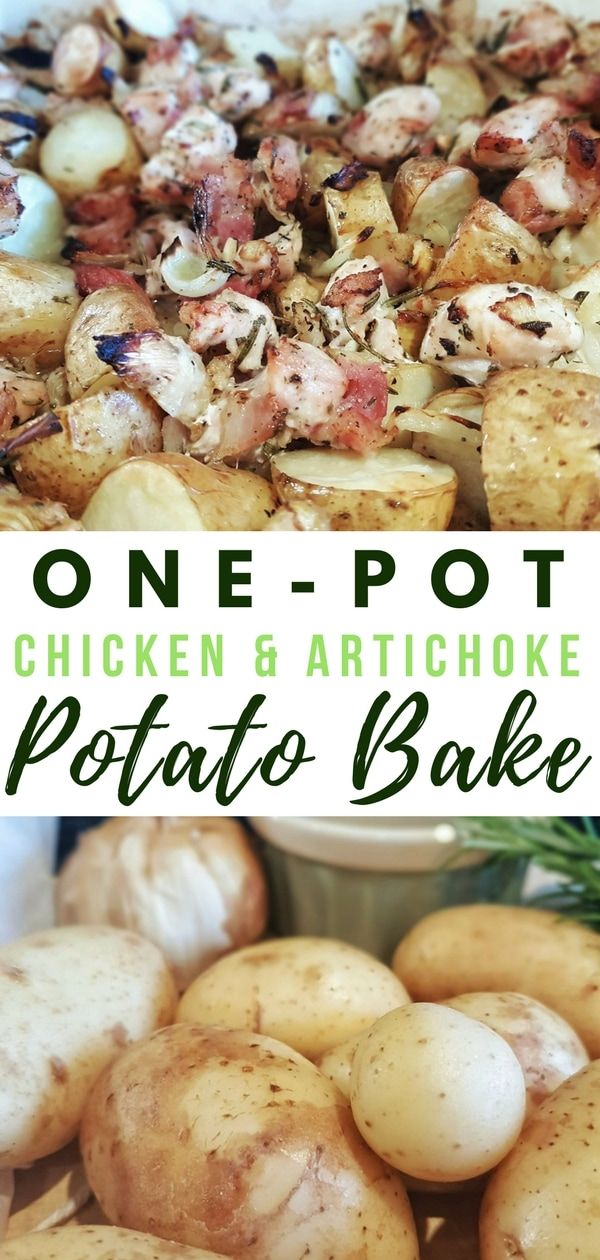 One-pot chicken and artichoke potato bake