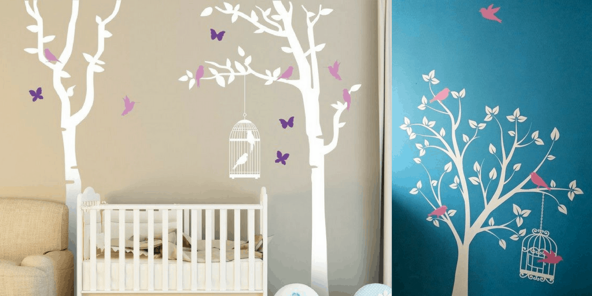 Wall stickers for a nursery showing trees and birds