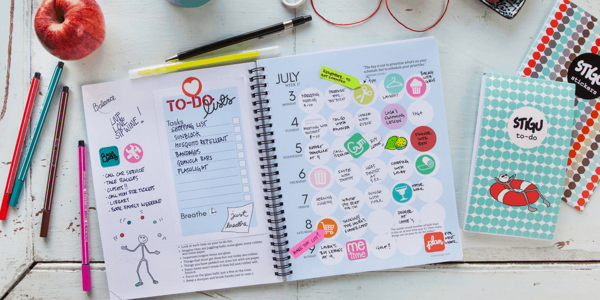 Stigu Planner in use with stickers and notes