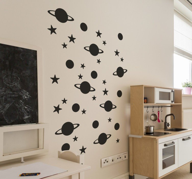 Black stars and planets wall stickers