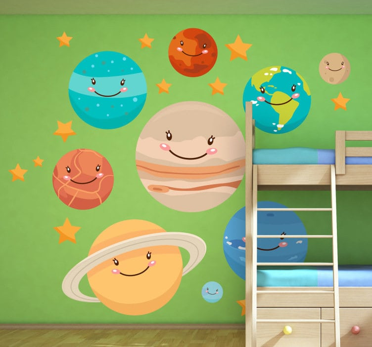 Happy smiling planets wall stickers