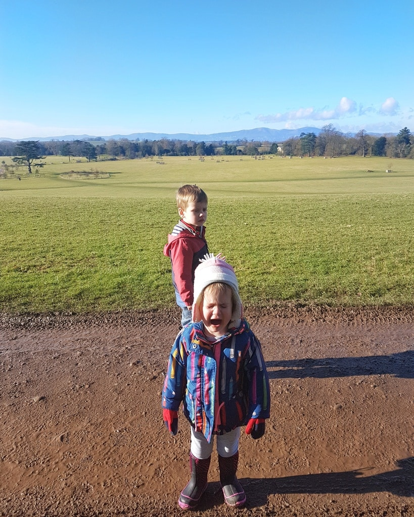 Littlest and Biggest at Croome. Littlest looks sad because daddy just put her down.