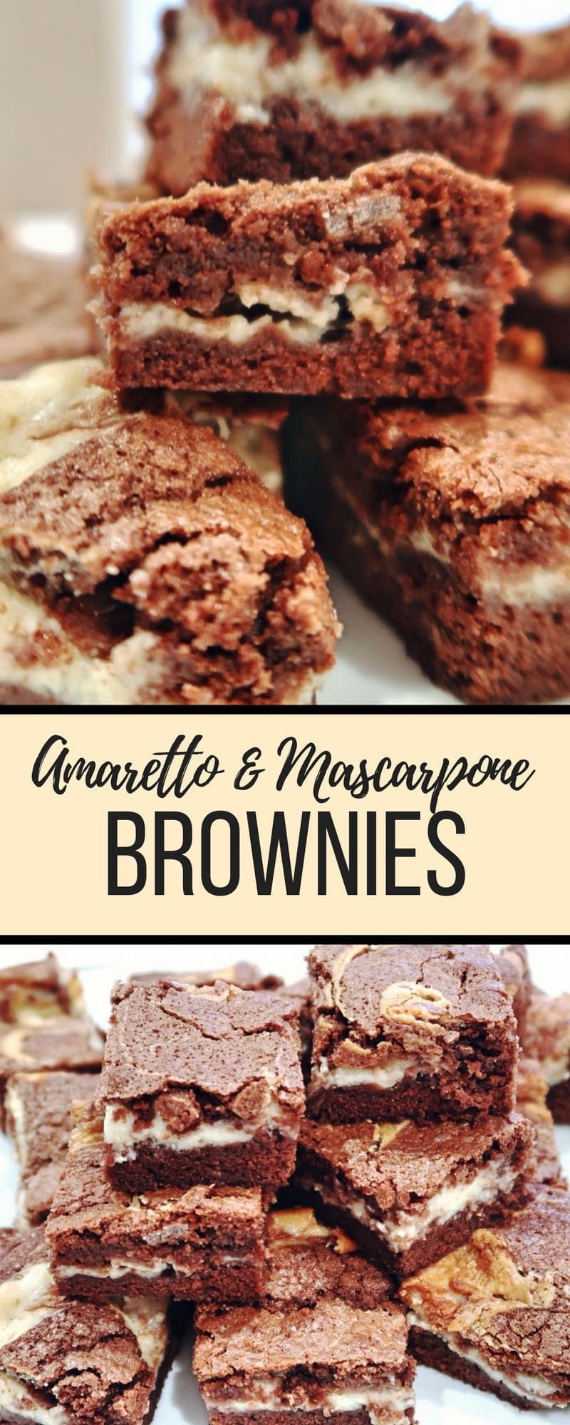 Amaretto and Mascarpone Brownies - the ultimate indulgant brownie treats made with amaretto liquer and mascarpone cheese filling. #brownies #amaretto