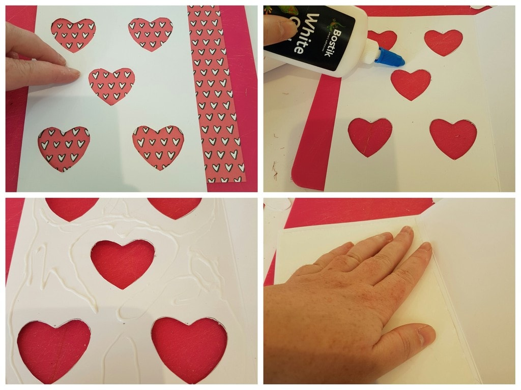 Collage of steps for easy card craft - sticking down the wrapping paper