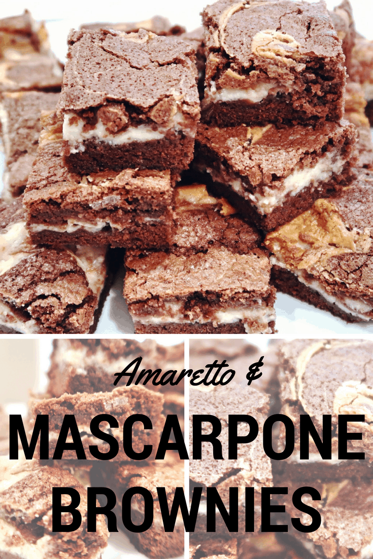 Amaretto and Mascarpone Chocolate Brownies - added amaretto liqueur and almond essence for a special twist.