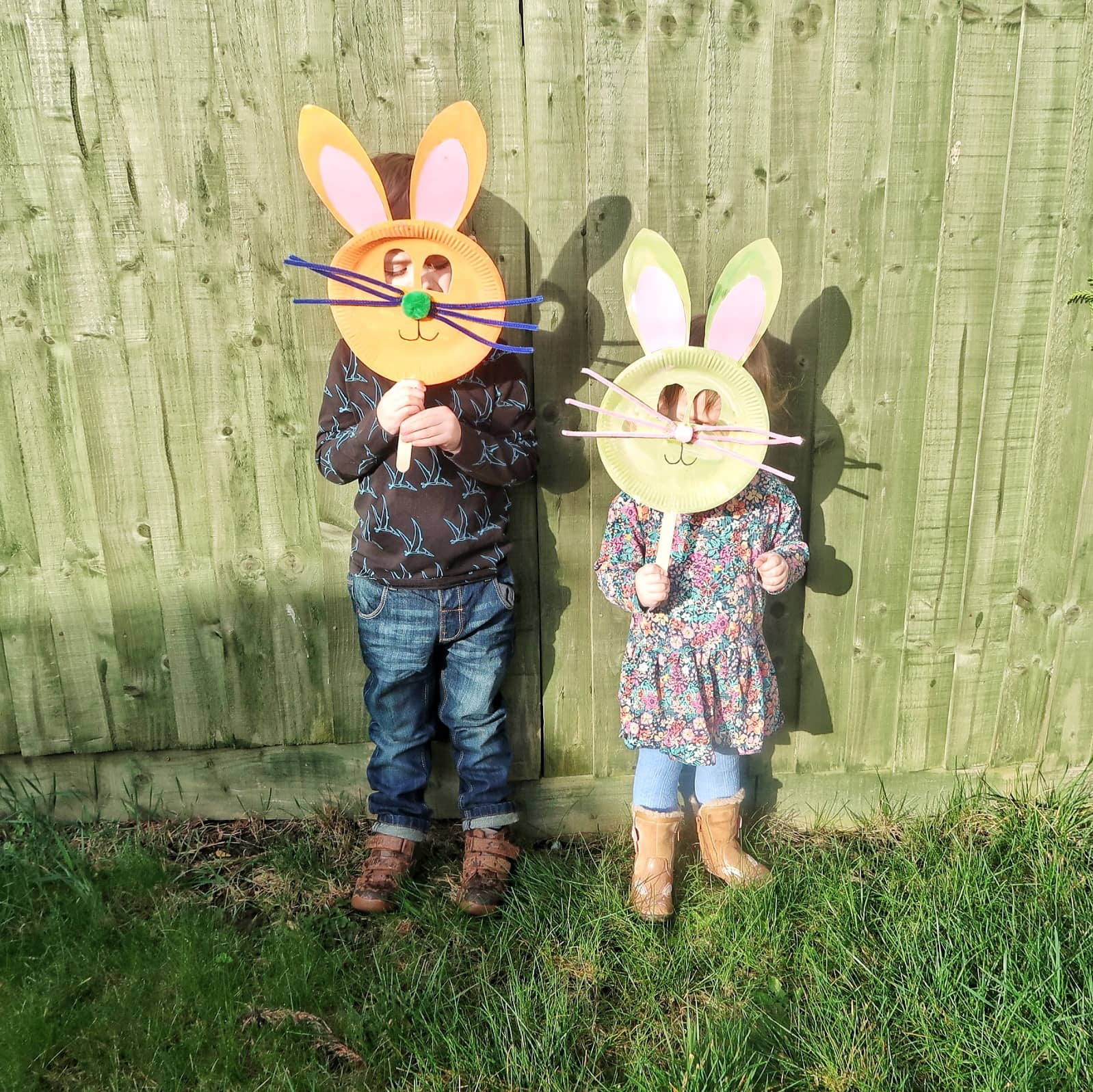 Biggest and Littlest with their bunny masks