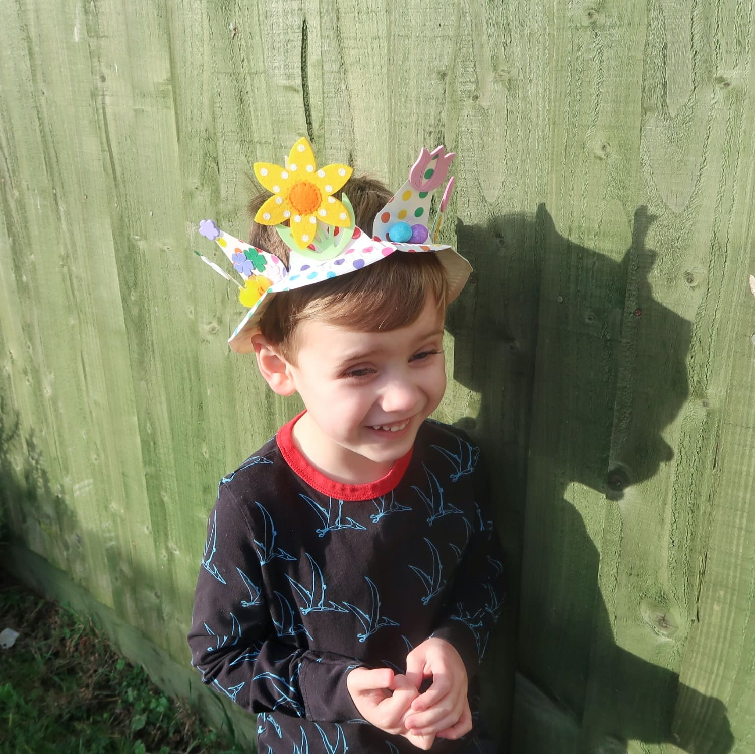 Biggest wearing his Paper Plate Easter Crown - Easter Crafts