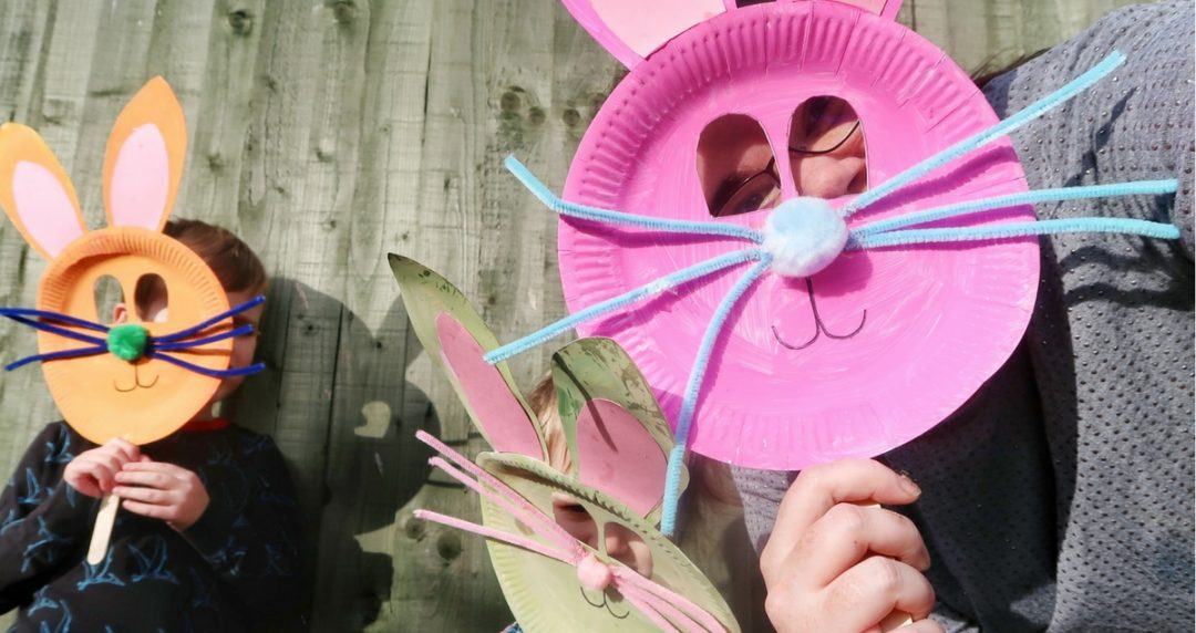 Me and the kids indulging in a bunny mask selfie - 3 Easy Easter crafts for kids