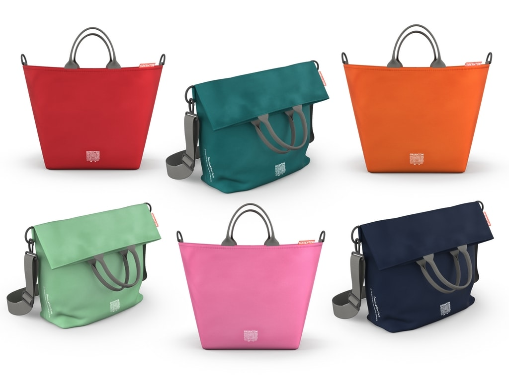 Different coloured Greentom strollerchanging and shopping bags