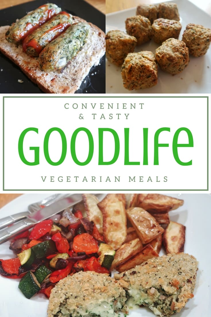 Goodlife Vegetarian Foods such as burgers, sausages, kievs and falafel.