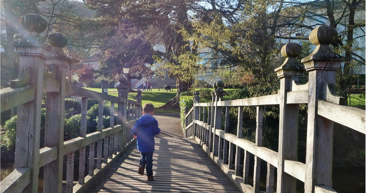 Biggest running along a bridge in Priory Park, Malvern