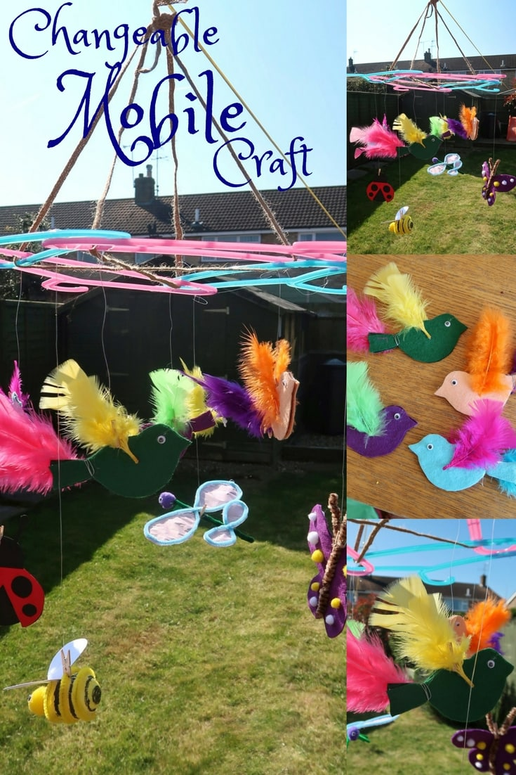 Changeable flying themed mobile craft with birds and insects