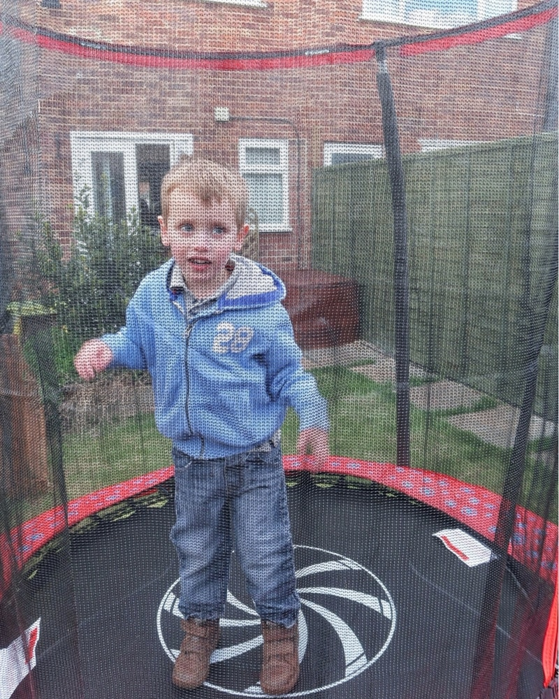 Biggest enjoying his ELC trampoline
