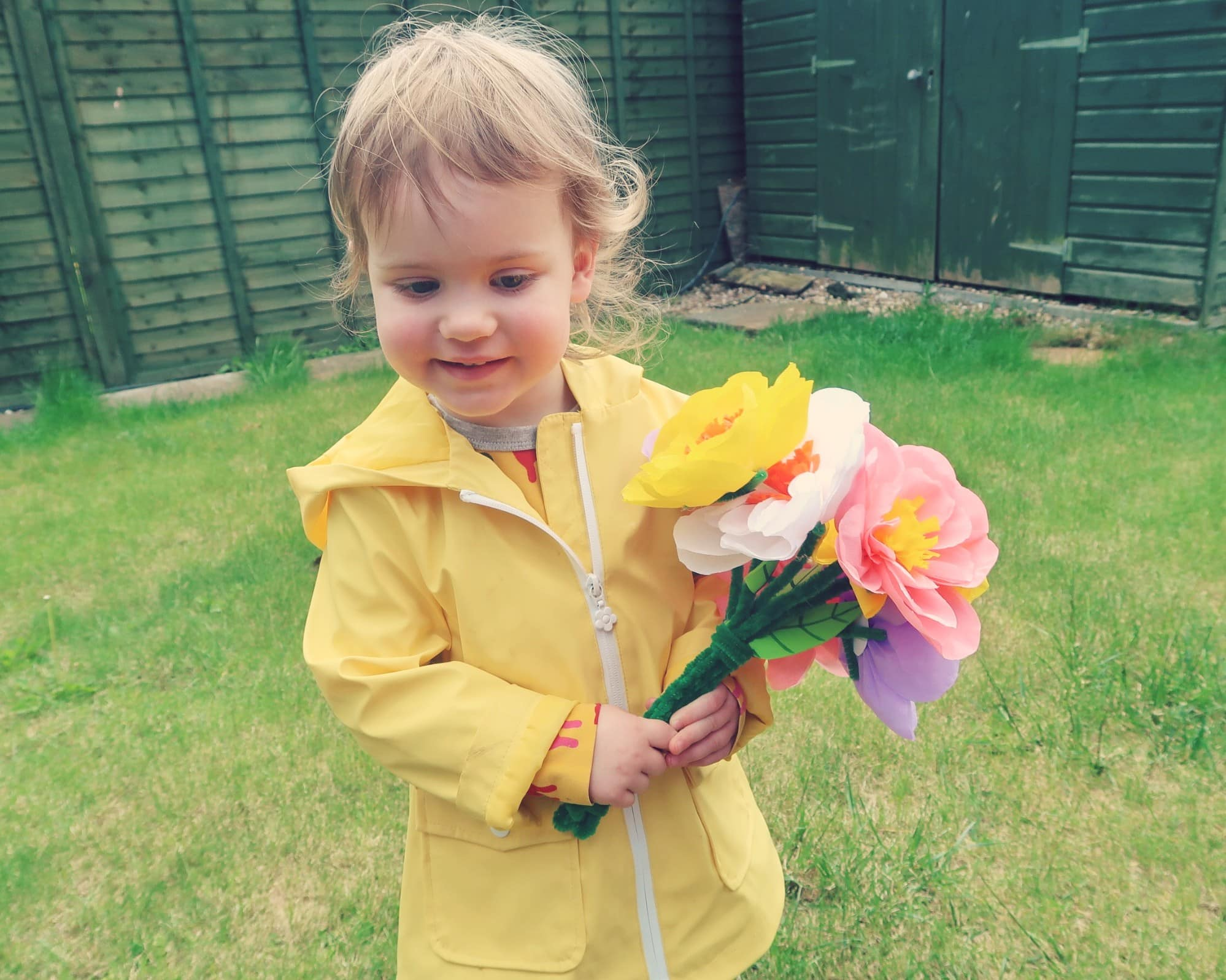 Littlest with her paper flowers