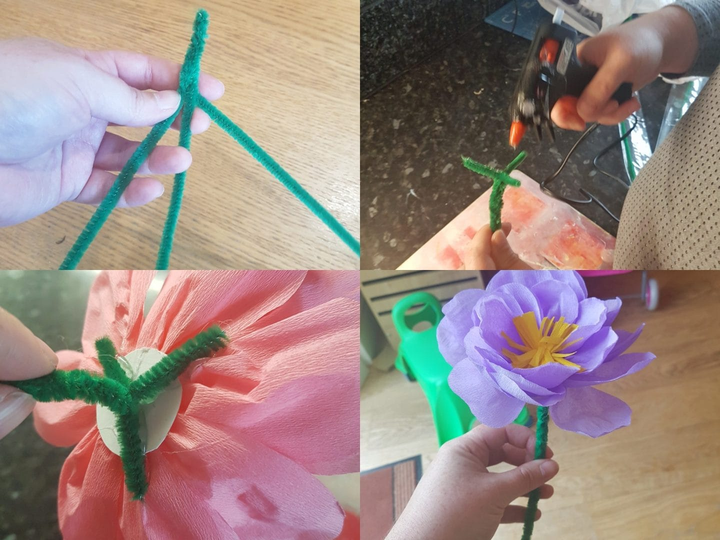 Adding the stalks to the paper flowers for paper flowers craft