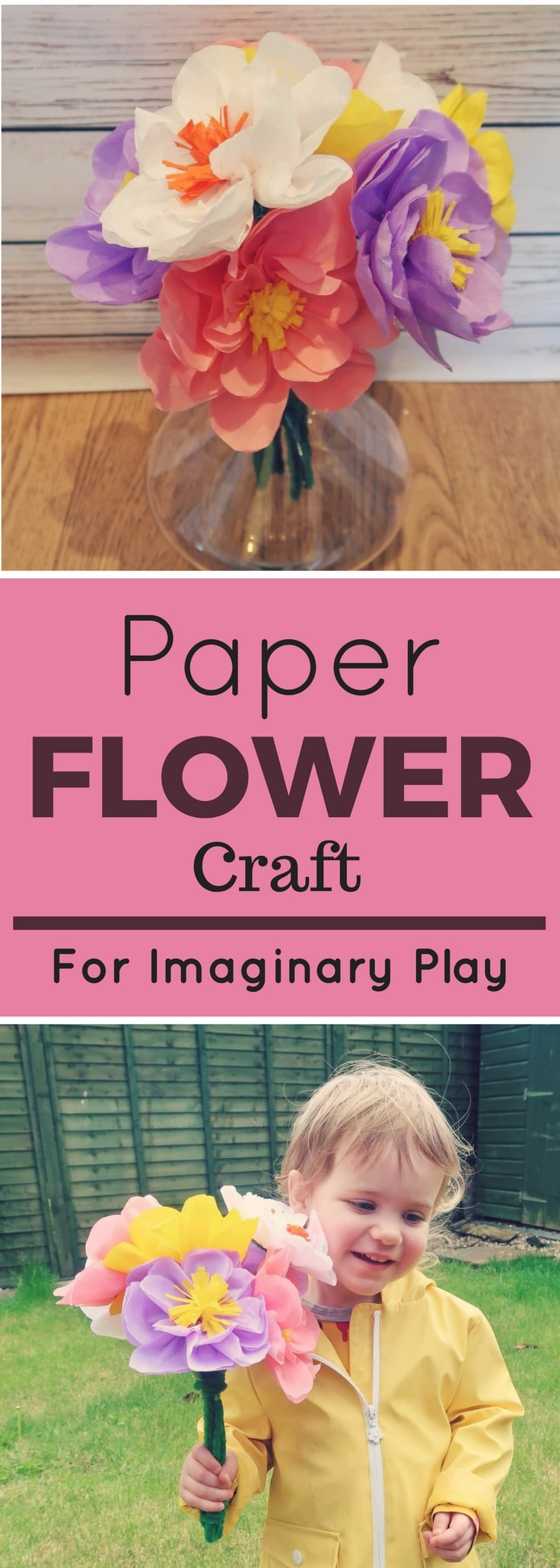 Paper Flowers Craft for Imaginary Play - create a bouquet of paper flowers for playing and dress-up.