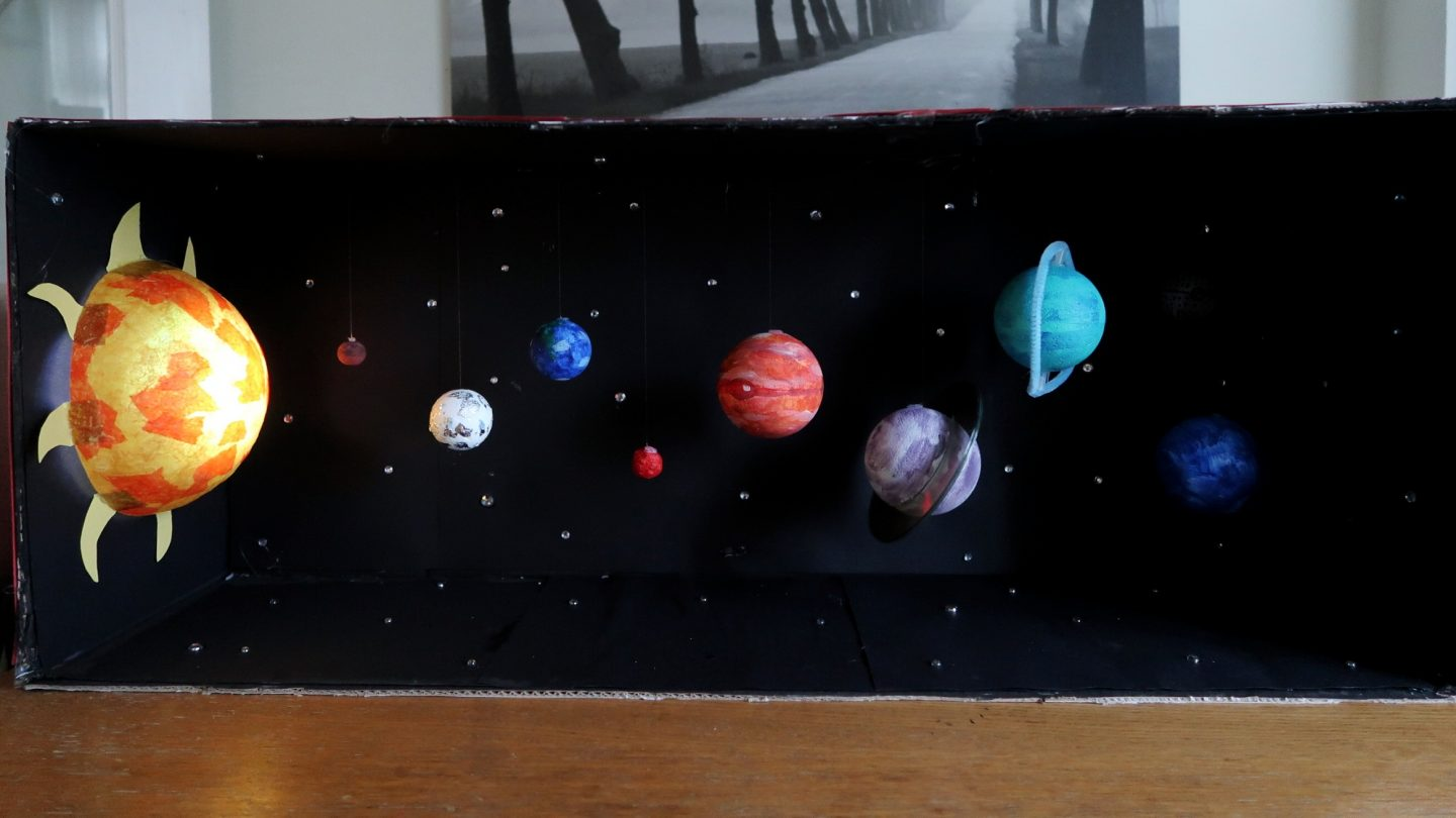 Finally I Covered The Outside Of Cardboard Box In Red Card And Our Model Solar System Was Complete
