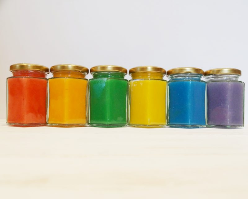 Rainbow slime in jars - rainbow slime recipe uk.