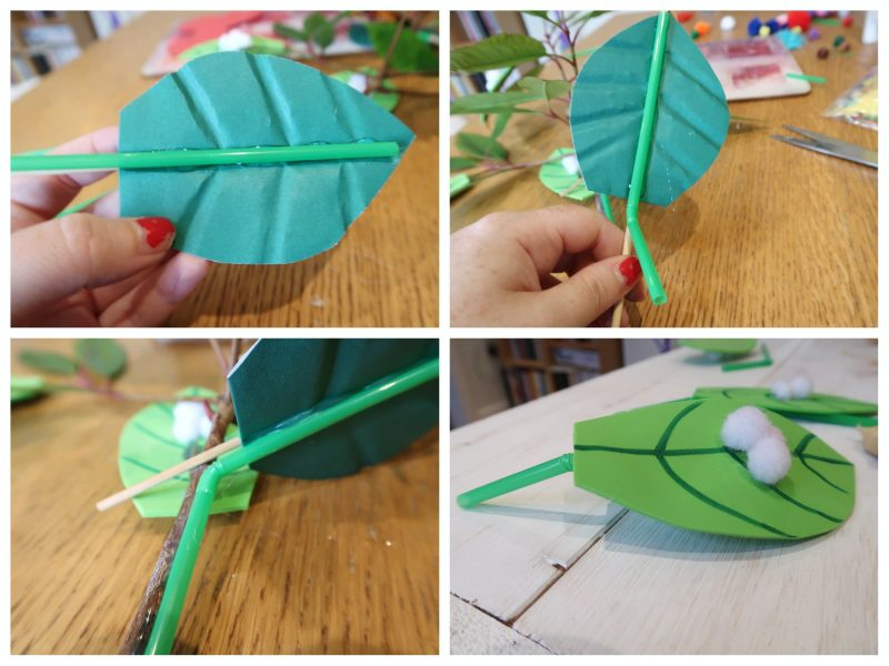 drinking straw stalks for life cycle of a butterfly craft