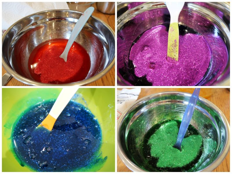 Adding the colour to the glue - UK Slime Recipe