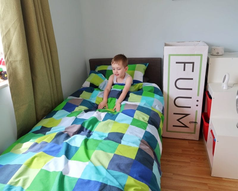 Biigest in his new bed with FUÜM mattress