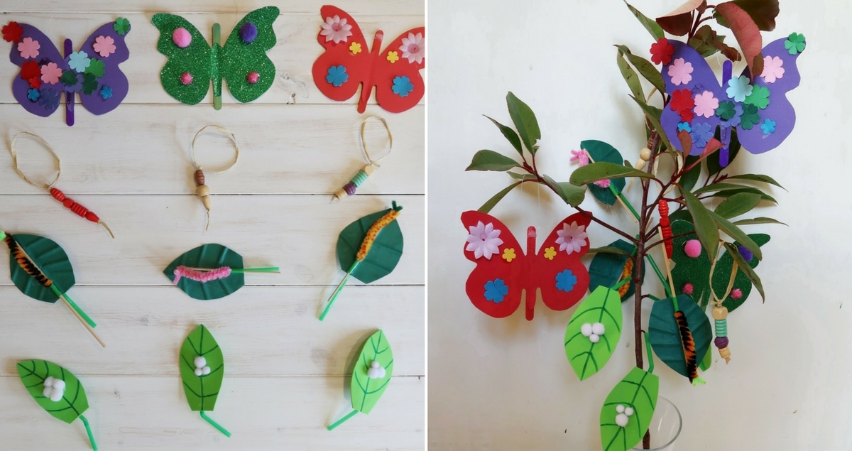 Life Cycle of a Butterfly Tree Crafts - four insect crafts in one. Teach children about the life cycle of the butterfly.