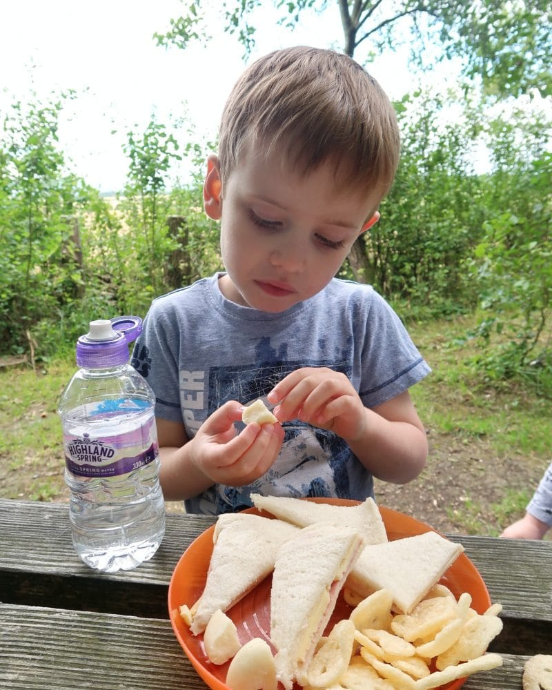 Boy eating a picnic - brave by nature with highland Spring - drinking more water