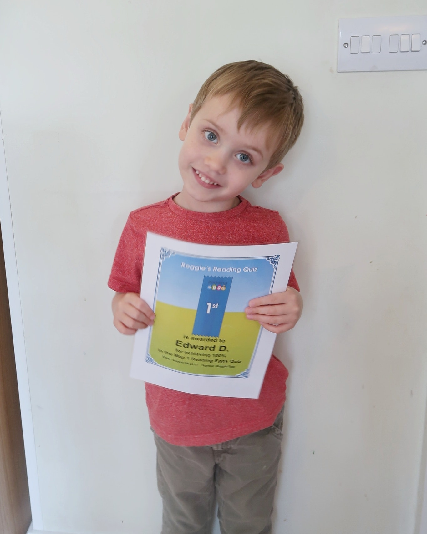Biggest with his first Reading Eggs certificate