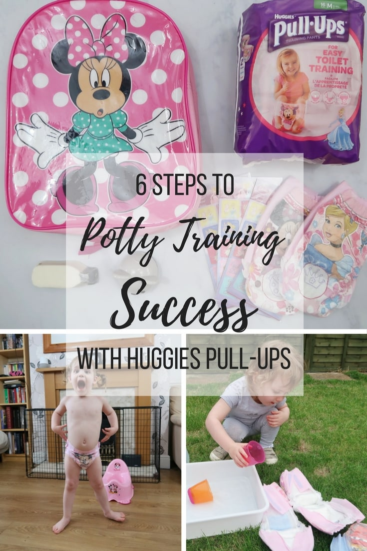 6 Steps to Potty training success with Huggies Pull-Ups - a look at how to train your toddler to use the potty in six easy steps.