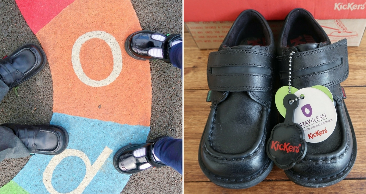 Back to School with Kickers Feature - Close up of shoes and boy and girl wearing shoes at playground