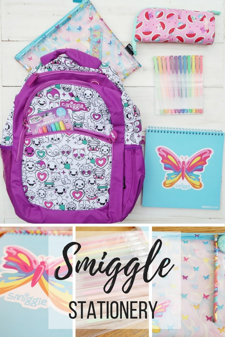 Smiggle stationery - a review of some great stationery items from Smiggle. From bags to gel pens and sketch pads and pencil cases.