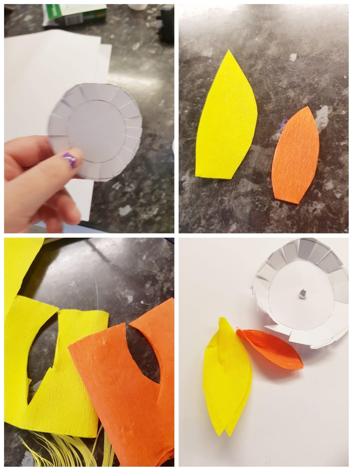 Three Easy Halloween Decorations to make with Kids - flames for candles