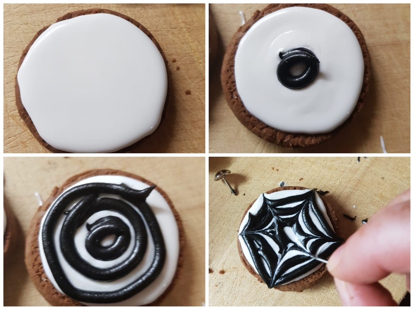 How to make spooky halloween cookies with a spiderweb effect