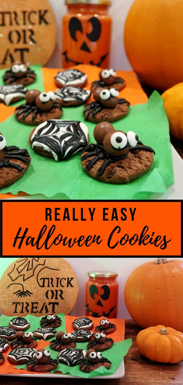 Really easy Hallowwen Cookies using bought ingredients and no baking.