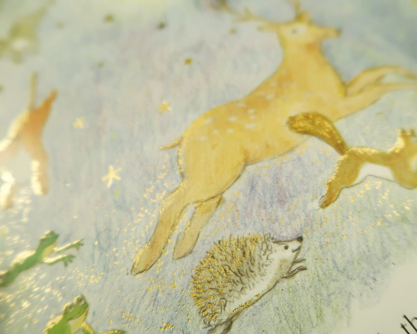 Katinka's Tail - Close up of illustration from Katinka's Tail - a deer and a hedgehog