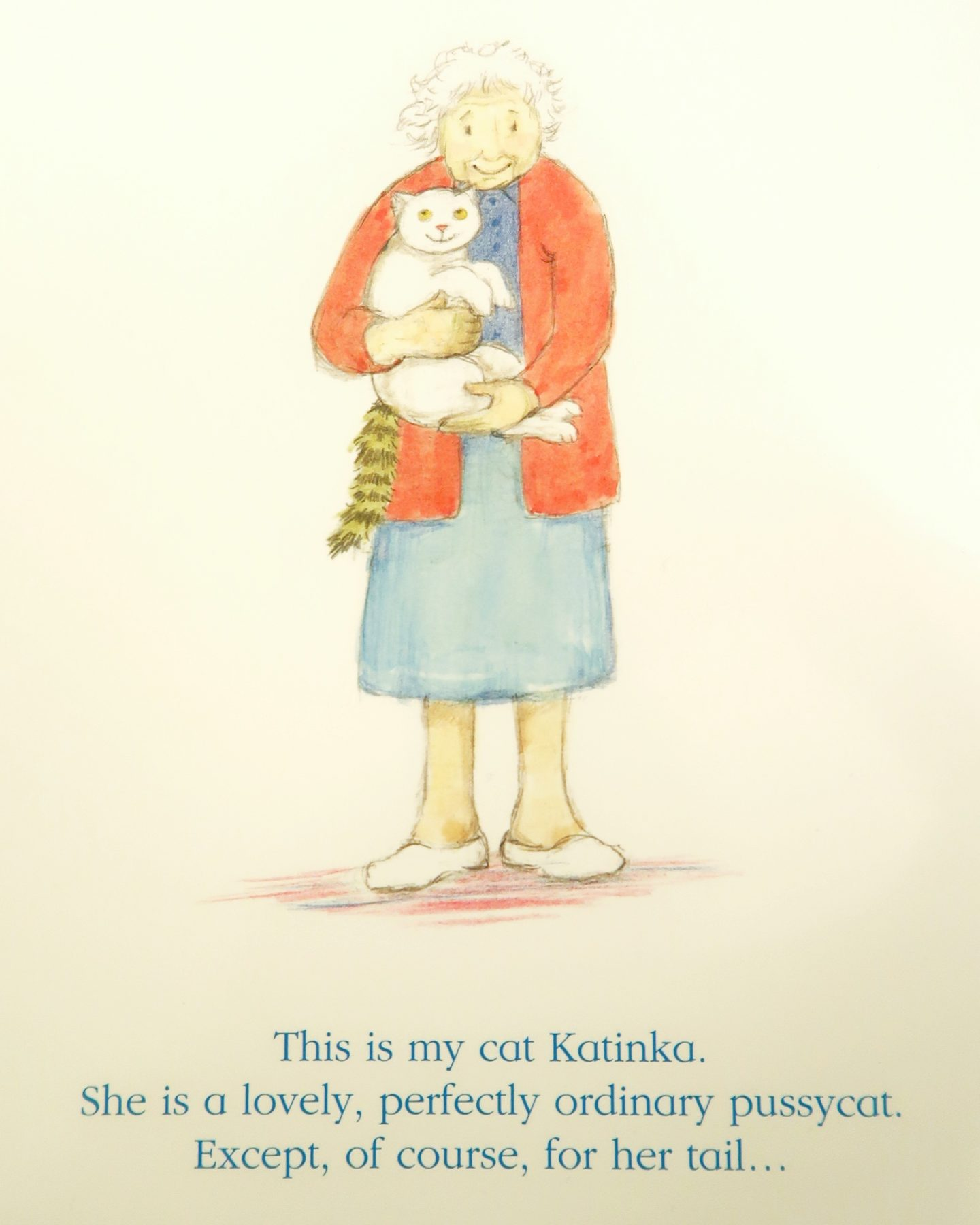 Katinka's Tail - The back of the book showing Katinka and her owner