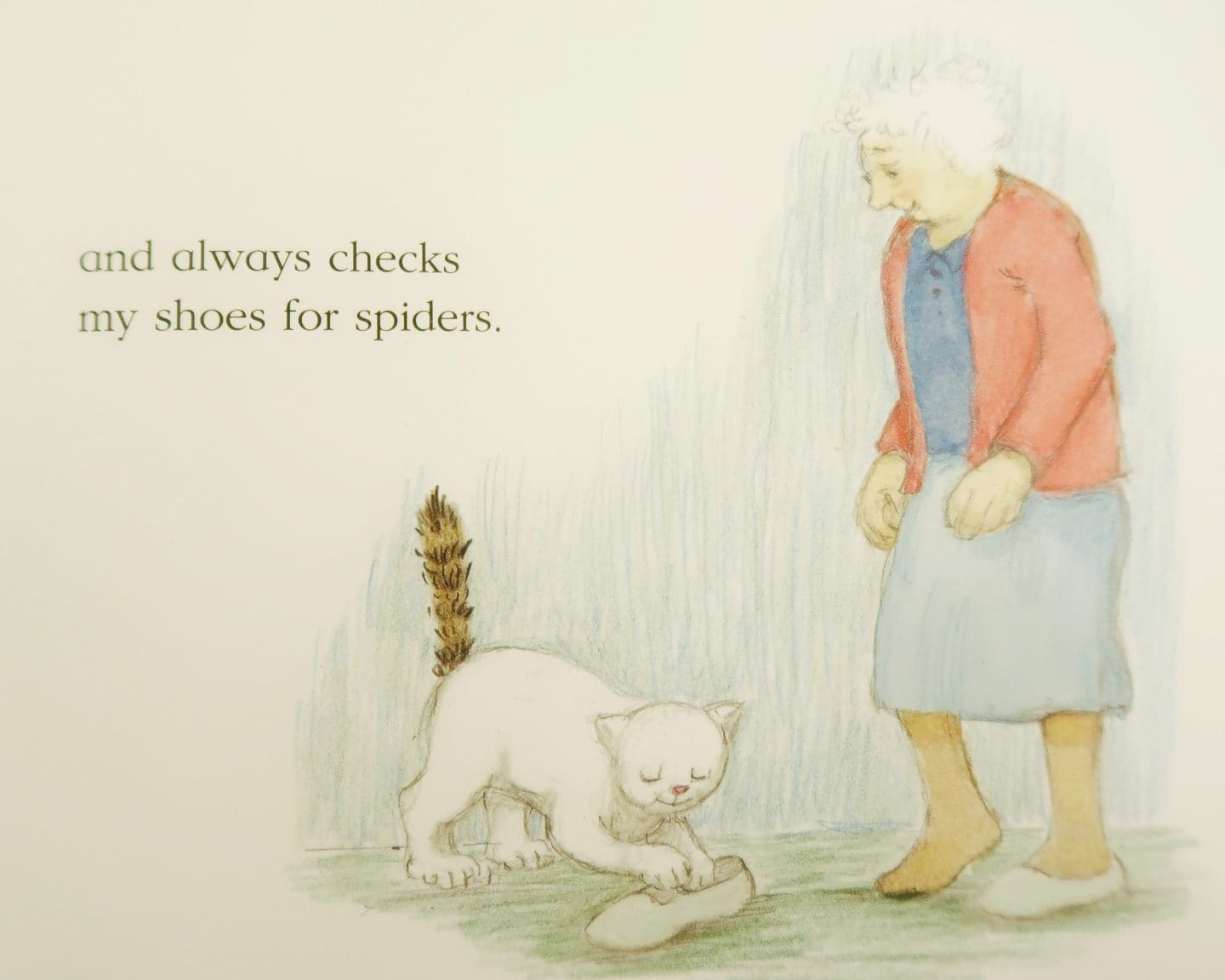 An illustration from the book - Katinka the cat checks her owner's shoes for spiders - Katinka's Tail