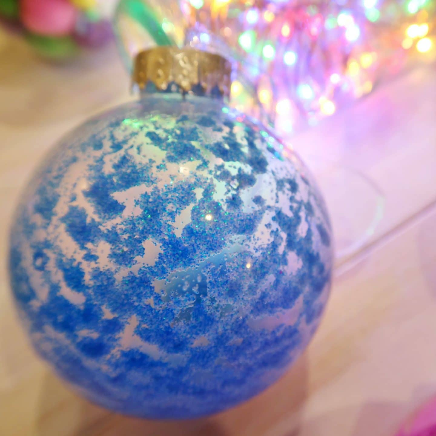 Blue, Glittery Christmas Bauble - sensory bauble craft